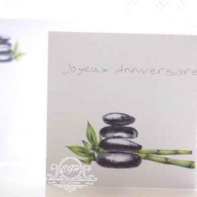 Cgh papeterie fine carte anniversaire galets bambous zen