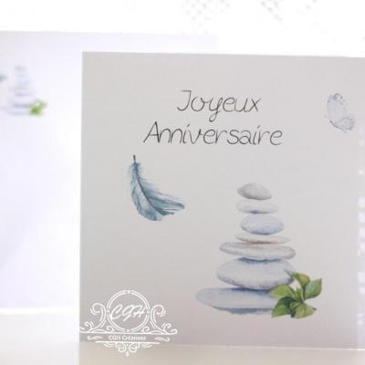 Cgh papeterie fine carte anniversaire galets plumes zen