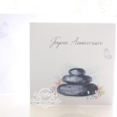 Cgh papeterie fine carte anniversaire galets zen