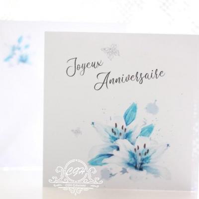 Cgh papeterie fine carte anniversaire lily bleu