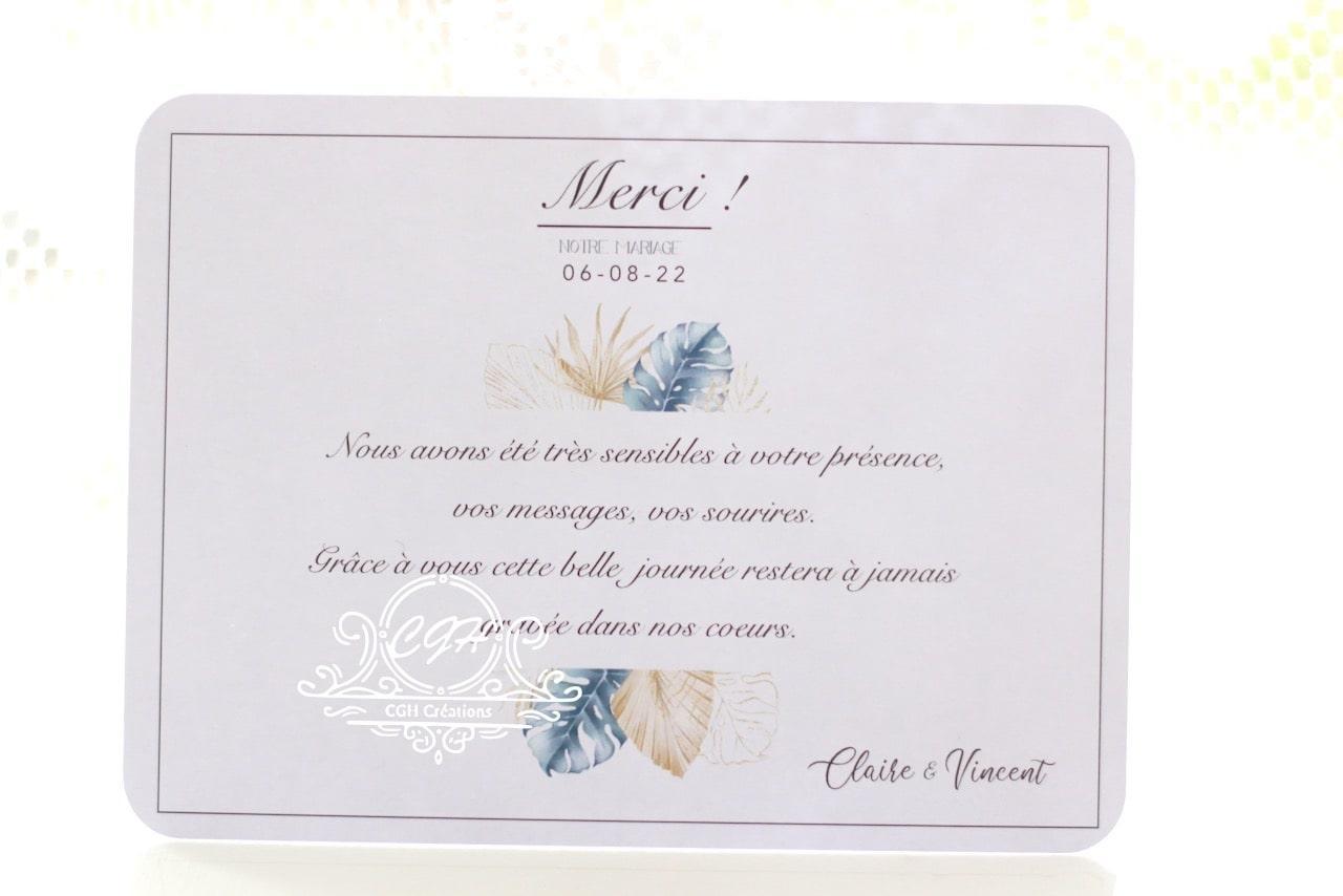 Cgh papeterie fine carte remerciements mariage elegance motif feuillage bleu et dore 1 min