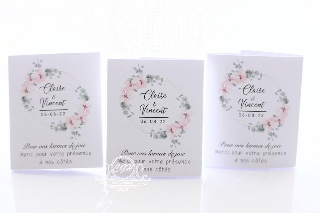 Cgh papeterie fine etuis mouchoirs blanc fleuri 3 min