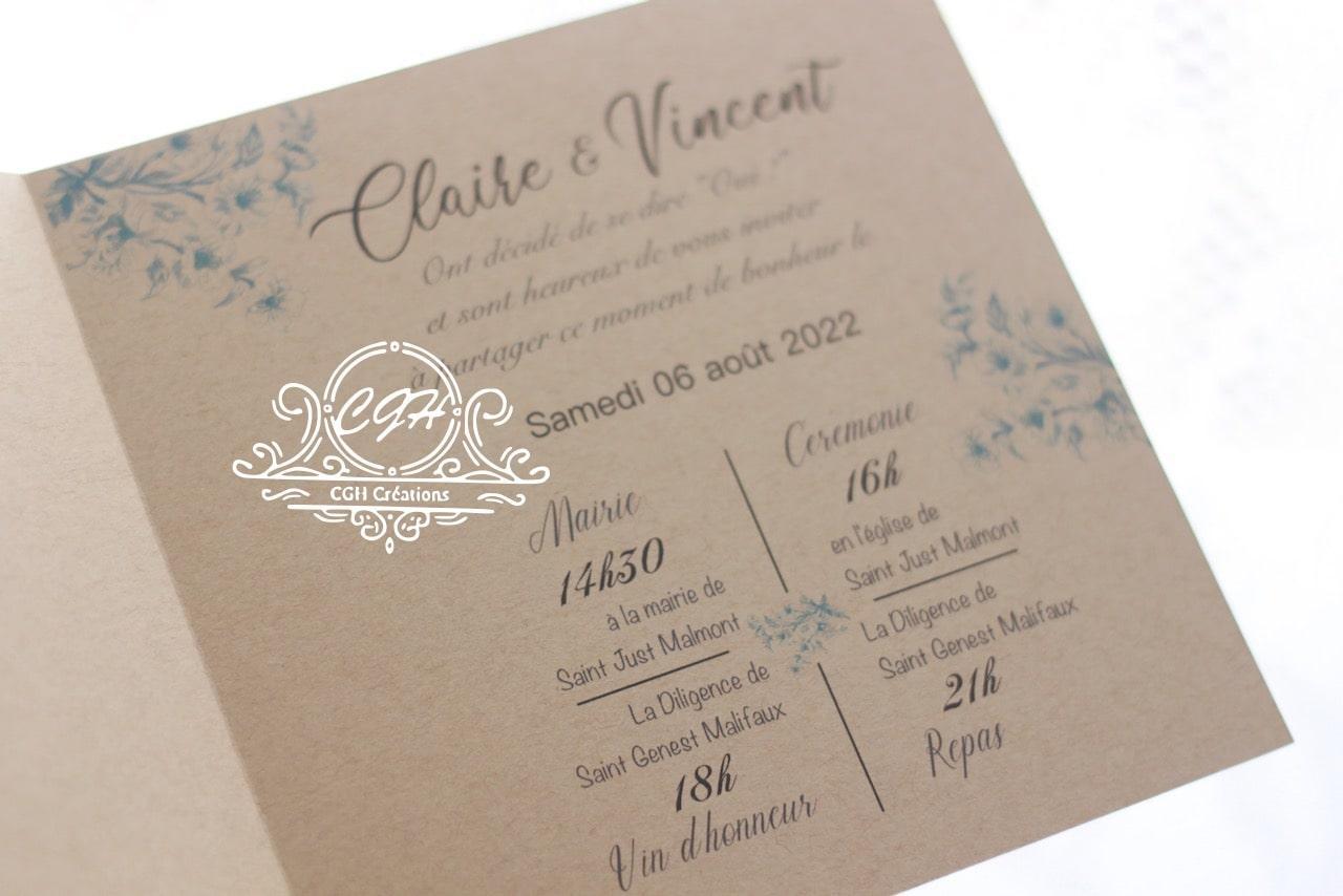 Cgh papeterie fine faire part mariage classique fleurs bleues 3 min