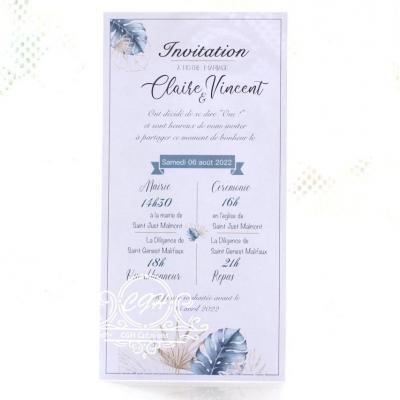 Cgh papeterie fine faire part mariage elegance motif feuillage bleu et dore 1 min