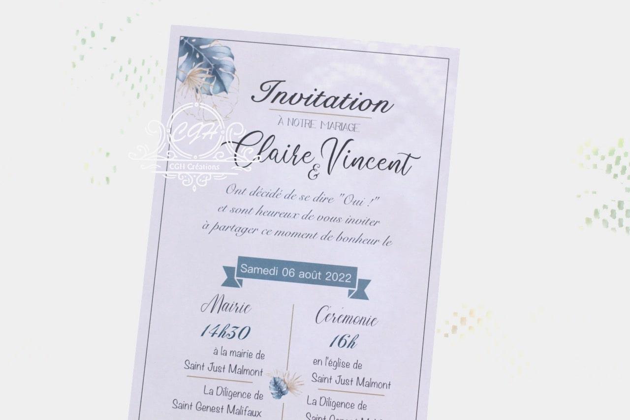 Cgh papeterie fine faire part mariage elegance motif feuillage bleu et dore 2 min
