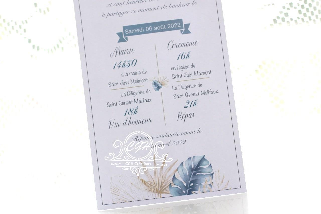 Cgh papeterie fine faire part mariage elegance motif feuillage bleu et dore 3 min