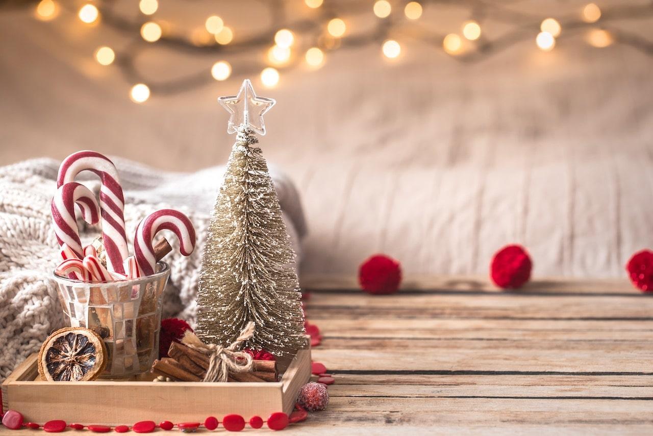 Christmas festive decor still life on wooden background min